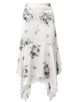 Cameron Floral Print Satin Midi Skirt by Ganni