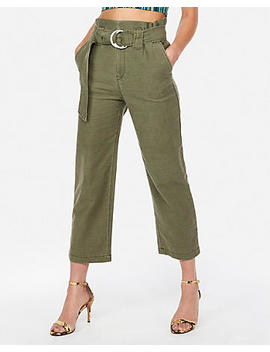 Super High Waisted Tie Waist Cropped Wide Leg Pant by Express