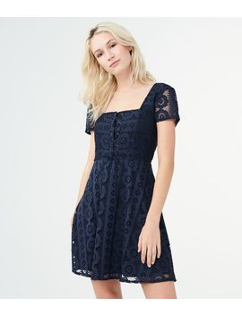 Solid Square Neck Lace Corset Fit &Amp; Flare Dress by Aeropostale