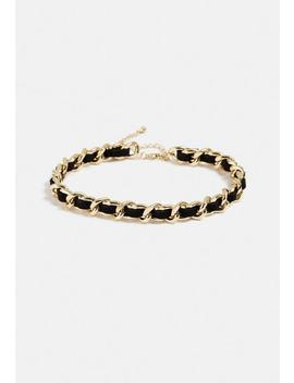 Gold Look Leather Chain Choker by Missguided