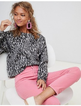New Look Brushed Sweater In Leopard Print by New Look