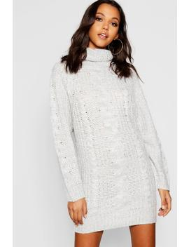 Cable Knit Roll Neck Jumper Dress by Boohoo