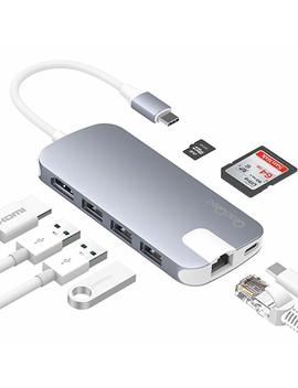 Qac Qoc Usb C Hub, 8 In 1 Aluminum Usb Type C Adapter With Hdmi Port, Gigabit Ethernet Port, Usbc Power Delivery, 3 Usb 3.0 Ports, Sd/Tf Card Reader For Mac Book Pro And More Usb C Devices (Space Gray) by Qac Qoc