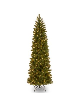National Tree Pre Lit 7 1/2' Feel Real Down Swept Douglas Fir Pencil Slim Hinged Artificial Christmas Tree With 350 Low Voltage Dual Led Lights by National Tree