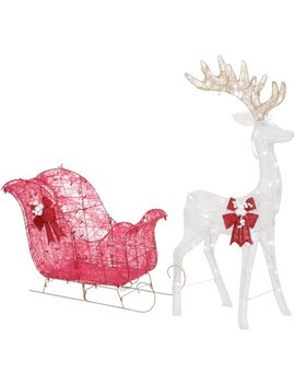 """Holiday Time 52"""" Reindeer And 40"""" Sleigh With 120 White Led Lights, Outdoor Or Indoor Use by Holiday Time"""