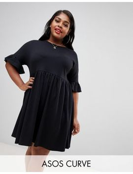 Asos Design Curve Sweat Smock Dress With Frill Sleeve by Asos Design