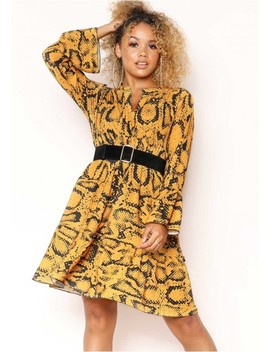Clare Mustard Snake Print Smock Dress by Missy Empire