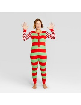 Women's Striped Holiday Rugby Union Suit   Wondershop™ Red by Shop This Collection