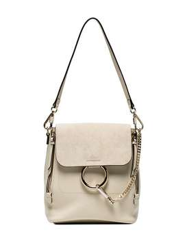 Off White Faye Medium Leather Backpack by Chloé