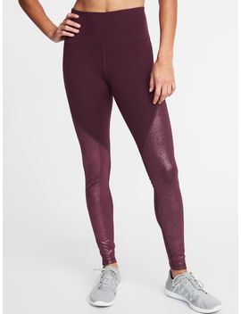 High Rise Shimmer Long Compression Leggings For Women by Old Navy