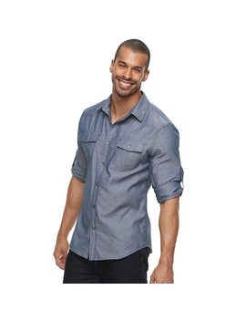 Men's Rock & Republic Plaid Roll Sleeve Button Down Shirt by Kohl's