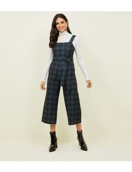 Green Check Button Side Cropped Jumpsuit by New Look