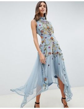 Asos Design Embroidered Midi Dress With Hanky Hem And Lace Up Back by Asos Design