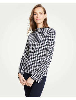 Houndstooth Mock Neck Sweater by Ann Taylor