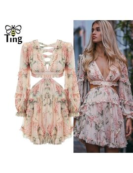 Tingfly Fashion Pink Designer Runway Dress Women's Hollow Out Ruffles Floral Print Chiffon Mini Dress Sexy Backless Deep V Neck by Cechy Daisy
