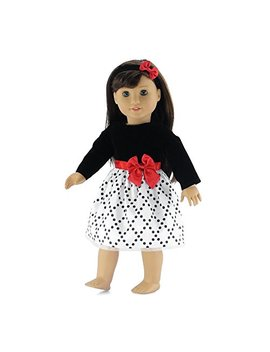 18 Inch Doll Clothes | Black And White Party Dress With Red Trim, Includes Matching Headband With Bow | Fits American Girl Dolls by Emily Rose Doll Clothes