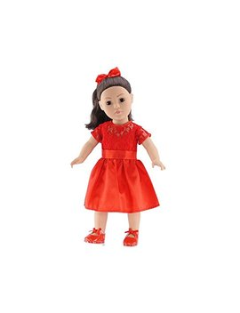 18 Inch Doll Clothes | Red Lace Holiday Dress Outfit With Shoes And Ponytail Holder | Fits American Girl Dolls by Emily Rose Doll Clothes