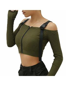 Ativafit Women's Long Sleeve T Shirt Streetwear Sexy Casual Off Shoulder Crop Top by Ativafit