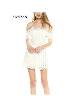 Kayizan New Lace Up Backless Beach Casual Summer Dress Natural Eyelet Bind Cotton White Mini Dress Women Sleeveless Ruffle 2018 by Kayizan