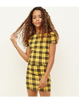 Girls Yellow Check Tube Skirt by New Look