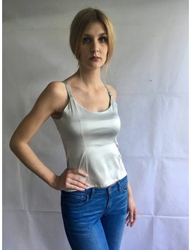 Vintage Metallic Silver Fitted Tank Top by Etsy