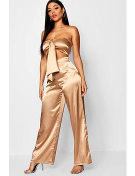 Tie Front Crop Top + Wide Leg Trouser Satin Co Ord by Boohoo