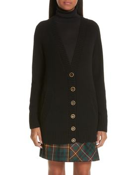 Elqui Logo Button Cashmere Cardigan by Burberry