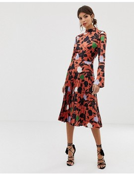 Asos Design Pleated Midi Dress With Fluted Sleeve In Floral Print by Asos Design