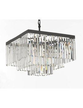 Retro Palladium Crystal Glass Fringe 3 Tier Chandelier by Generic