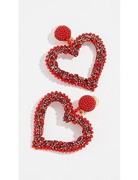 Jeweled Heart Clip On Earrings by Oscar De La Renta