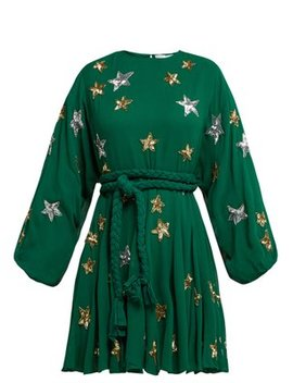 Ella Star Embellished Chiffon Crepe Dress by Rhode Resort