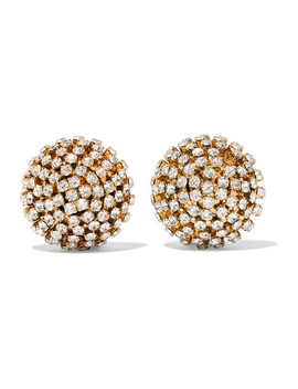 Strobo Gold Tone Crystal Clip Earrings by Rosantica