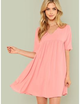 Scallop Trim Smock Dress by Shein