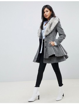 Asos Design Check Skater With Faux Fur Trim by Asos Design