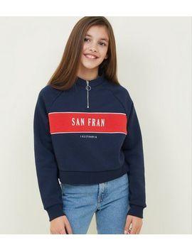 Girls Blue San Fran Slogan Sweatshirt by New Look