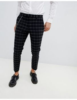 Twisted Tailor Tapered Fit Trouser With Black Window Pane Check by Twisted Tailor