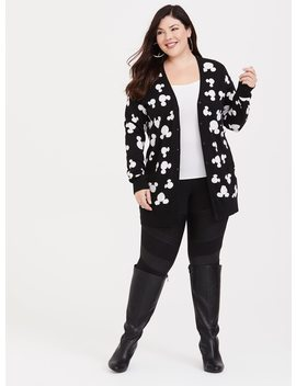 Disney Mickey's 90th Anniversary Black & White Knit Cardigan by Torrid
