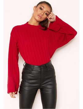 Arlene Red Knit High Neck Jumper by Missy Empire