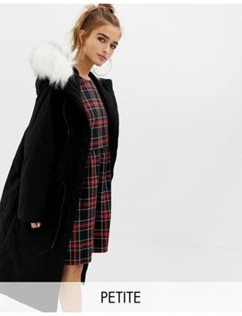 Collusion Petite Parka Jacket With Fur Lined Hood by Collusion