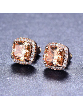 Elegant 18 K Rose Gold Princess Cut Champagne Topaz Stud Earrings Square Ear Stud by Junxin