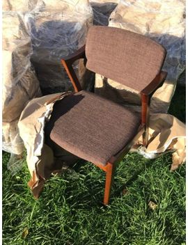 10 Walnut Mid Century Dining Chairs With Brown Fabric by Ebay Seller