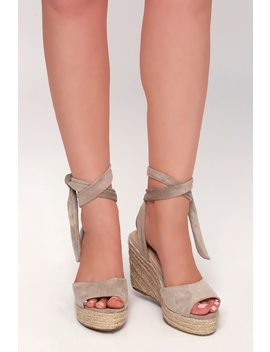 Kaila Taupe Lace Up Espadrille Wedges by Lulu's