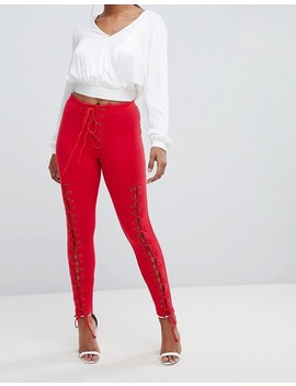 Missguided Eyelet Ribbed Leggings by Missguided
