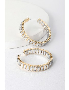 Present Moment Gold Rhinestone Hoop Earrings by Lulus