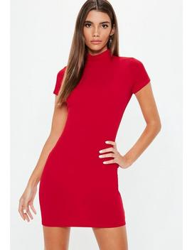 Red Crepe Cap Sleeve High Neck Mini Dress by Missguided
