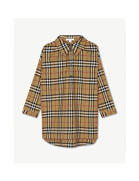 Vintage Check Cotton Long Sleeve Dress 4 14 Years by Burberry