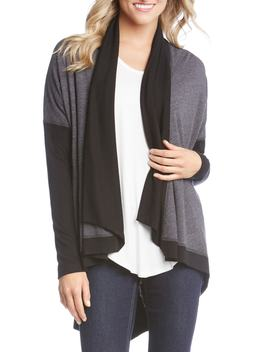 Double Knit Colorblock Cardigan by Karen Kane