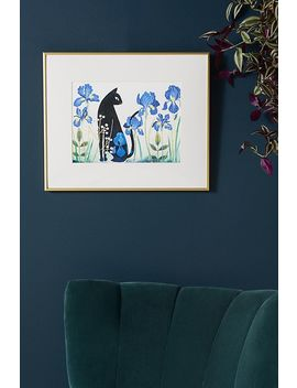 Black Cat Among Irises Wall Art by Artfully Walls