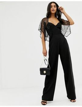 Asos Design Flutter Sleeve Jumpsuit With Wide Leg And Star Embellishment by Asos Design
