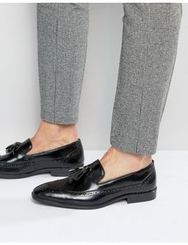 Asos Brogue Loafers In Black Leather With Tassel by Asos